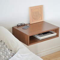 Floating end table set nightstands solid walnut bedroom bedside