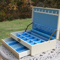 Vintage Mele Style Jewelry Box, Blue Satin/Velvet Interior, Nice Condition.