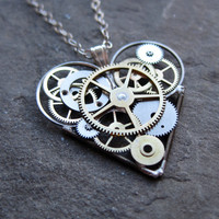 "Watch Parts Heart Necklace ""Emoticore"" Clockwork Elegant Industrial Heart Necklace Mechanical Love Sculpture Gershenson-Gates Gear Heart"