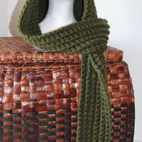 Women, Misses, Teen - Chunky Hooded Scarf - Forest Green