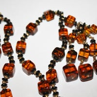 Vintage Leopard Glass Necklace Sautoir Lariat 1940s Jewelry