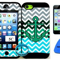 Apple Iphone 5c Teal Anchor on Teal Gray Black Chevron Waves Design Pattern Plastic Protective Cover Case with Kickstand on Black Silicone Gel. (Included: Wristband, Screen Protector, and Pry Tool Exclusively By Wirelessfones TM)