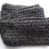 Crocheted infinity scarf in Granite Gray