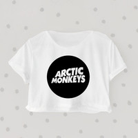 Arctic Monkey printed Midriff Cropped Blouse. Street-Style Fashion - teenage - crop - Teen Girl - Casual wear