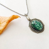 Fire Opal pendant necklace - Victorian Necklace -Antique Silver