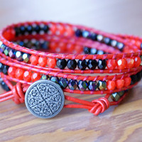 Red Leather beaded wrap bracelet, triple wrap, ruby opal, jet, black, bohemian trendy jewelry, luxe Boho glam, shabby chic, gift idea
