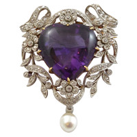Edwardian Bailey, Banks & Biddle Amethyst & Diamond Heart Pendant