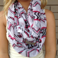 Black & Fuschia Chainsaw Infinity Scarf