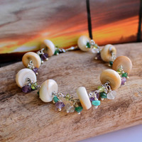 Seashell & Gemstone Bracelet made in Hawaii, Hawaiian jewelry by Mermaid Tears