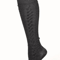 Cable Knit Knee Socks in Black - Spotted Moth