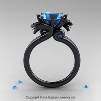 Art Masters 14K Black Gold 3.0 Ct Red Aquamarine Dragon Engagement Ring R601-14KBGAQ