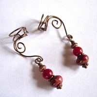 Ear Cuffs, Beautiful Alternative Earrings Antique Brass with Genuine Red Creek Jasper and Ruby Jade Beads, non pierced