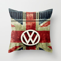 VW Retro Union Jack Throw Pillow by Alice Gosling