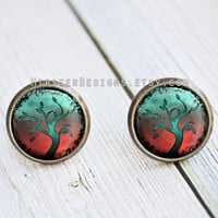 Antique Bronze Stud Earrings - Abstract Tree Art 005