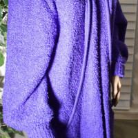 ON SALE Vintage 80s Slouchy Oversized Purple Cocoon Sweater Coat Large // Fitting Image