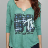 MTV Henley - Women's Tops - Long Sleeve - Junk Food Clothing