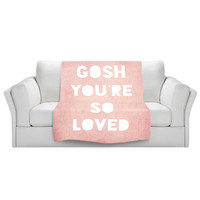 Plush, fleece, velveteen blankets are soft and full of snuggly warmth, Made by DiaNoche Designs, Multiple Sizes, Loved Pink