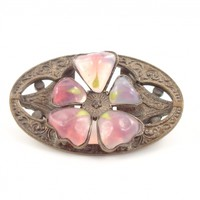 Opalescent Pink Glass Brooch Antique Repousse Brass Flower Pin Czech