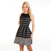 Taylor Dots and Stripes Shantung Illusion Dress at Von Maur