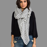 DemyLee Stripe Woven Gauze Scarf in White & Navy