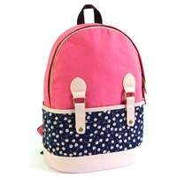 Sweet Cute Fresh Floral Print Mixing Color Canvas Backpack Bag