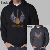 Men's GREY Freebird Lyric Hoodie XL - Created using the lyrics to Lynyrd Skynyrd's Freebird