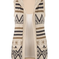 Patterned Sweater Vest with Hood
