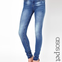 ASOS PETITE Ridley Supersoft High Waisted Ultra Skinny Jeans in Light Stonewash