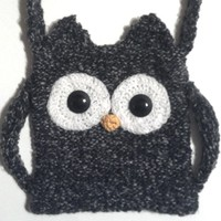 Gray Owl Hand Knit Handbag