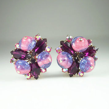 Vintage Earrings Pink Purple Magenta Rhinestone Crackle Art Glass Jewelry