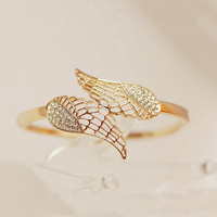 $ 23.99 Dresswe.com SUPPLIES Brillaint Golden Rhinestone Angel's Wing Lady's Bracelet