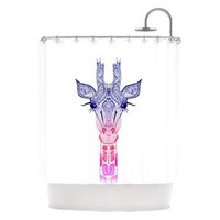 "Kess Inhouse Monika Strigel ""Rainbow Giraffe"" Shower Curtain 