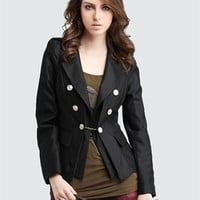 BestDressBoutiques.com-. Unique Women's Suit Neckline Long Sleeves Black Fibre Blouse