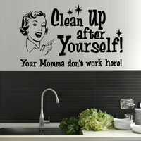 Wall Decal Vinyl Sticker Decals Sign Words Quote Clean Up Yourself (z1329)
