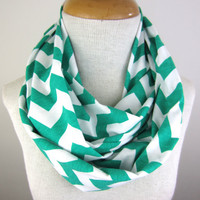 Mint Chevron Scarf - Green and White Scarf - Chevron Infinity Scarf