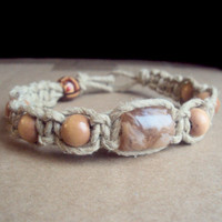 Thick Hemp Bracelet Lampwork Bead Bracelet Wood Bead Bracelet Natural Jewelry