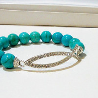 "Turquoise Blue Silver Rhinestone Fish Jesus Connector Elastic Bracelet, Fits up to 8.0"" Christian Fish"