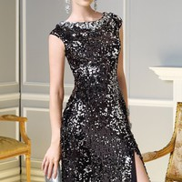 Bateau Sequin Gown by Alyce Claudine Collection