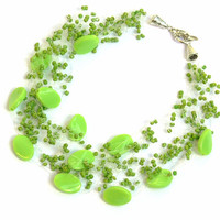 Light Green Necklace. Bridal Necklace. Multistrand Necklace. Bridesmaid Necklace. Beadwork.
