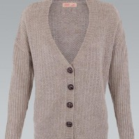 Oatmeal Buttoned Knit Oversized Cardigan