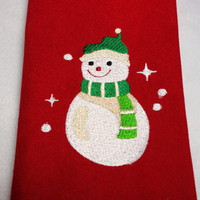 Cloth Napkins 4 Snowman Red Green Christmas Embroidered Holiday Dining