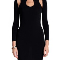 Black Cutout Racerback Long Sleeve Dress