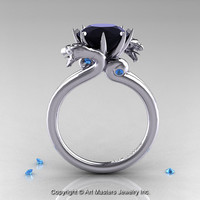 Art Masters 14K White Gold 3.0 Ct Black Diamond Blue Topaz Dragon Engagement Ring R601-14KWGBTBD