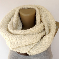 ivory knitted scarf ,infinity scarf ,unisex scarf ,eternity women men scarves ,knitting ,knit circle scarf ,cream ivory EXTRA SOFT acrylic