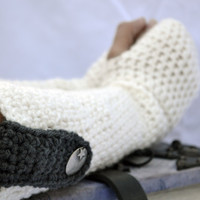 long arm warmers, fingerless gloves, crochet arm warmes in white and charcoal