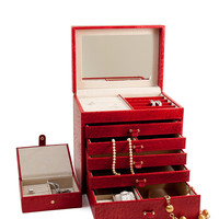 BEY-BERK No Color Red Leather Jewelry Chest