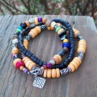 New ~~ Tribal Hippie Bracelet Stack - Black Coconut Heishi and Mixed Wood