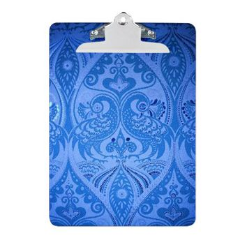 Blue Oriental Peacocks Pattern Clipboard