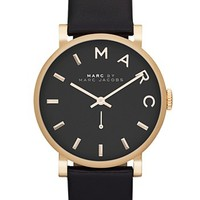 Women's MARC BY MARC JACOBS 'Baker' Leather Strap Watch, 37mm - Black/ Gold