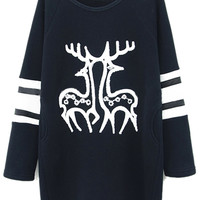 ROMWE | ROMWE Striped Sleeved Twin Deer Print Black Sweatshirt, The Latest Street Fashion